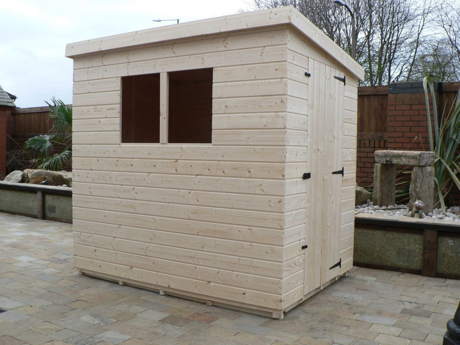 7' X 5' Pent Shed Full Size Windows